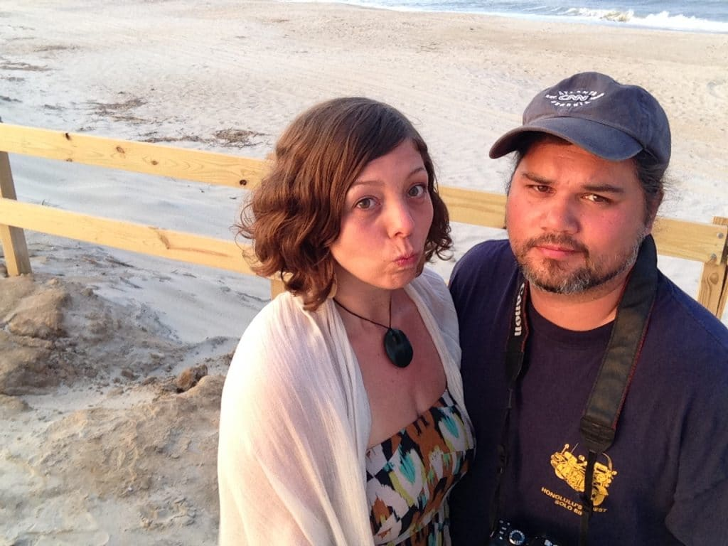 Being silly on the beach with Larry Rivera and Jamie Pelaez at Assateague State Park, Maryland