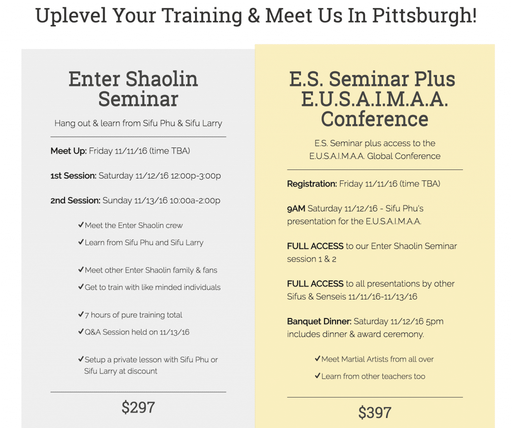 Enter Shaolin Pittsburgh, PA Nov. 11-13