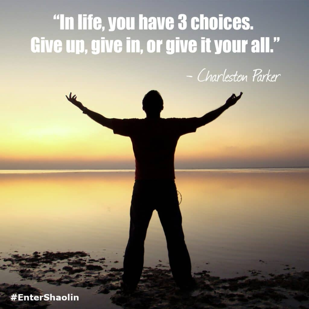 """""""In life, you have 3 choices. Give up, give in, or give it your all."""" - Charleston Parker"""